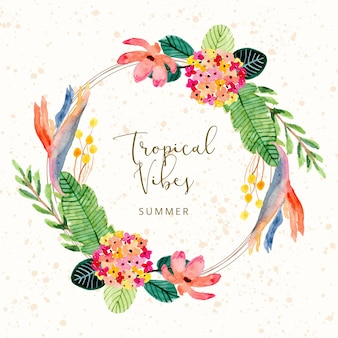 Tropical summer watercolor floral wreath