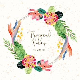 Tropical summer watercolor floral wreath