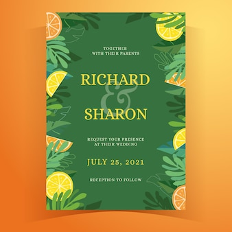 Tropical summer wedding invitation