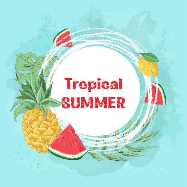 Tropical summer with cocktail ice cream and tropical fruits. vector illustration