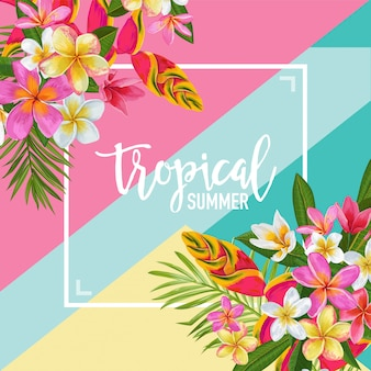Tropical summer with exotic flowers framed illustration