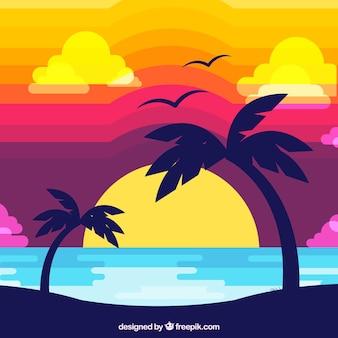 Плоский дизайн тропического заката