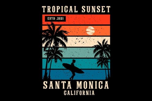 Tropical sunset santa monica silhouette design retro style