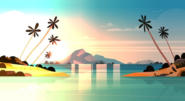 Tropical sunset on seaside amazing exotic landscape of beach with palm trees and rocks