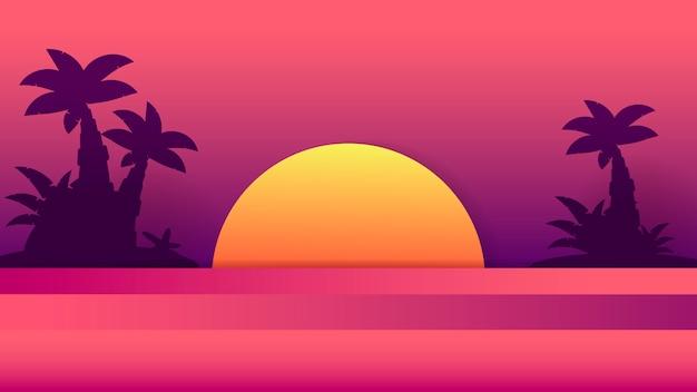 Tropical sunset . summer illustration. summer beach design.tropical palm tree