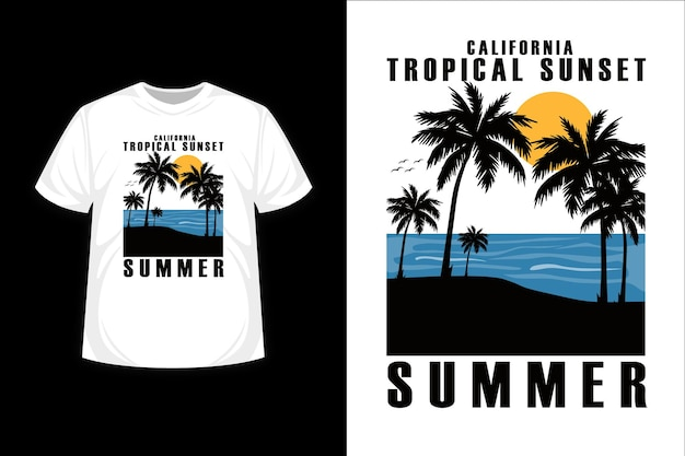 Tropical sunset in summer silhouette t shirt design