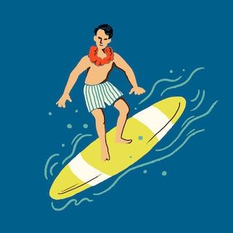 여름 휴가 테마의 열대 서퍼 스티커