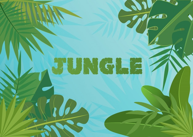 Tropical  template banner illustration. exotic plants on bblue sky background, rainforest design with tropic leaves.