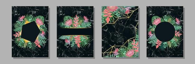 인사말 카드 및 표지용으로 설정된 열대 템플릿