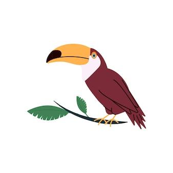 Тропический тукан с большим клювом на плоской иллюстрации