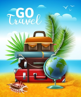 Tropical traveling tourism illustration