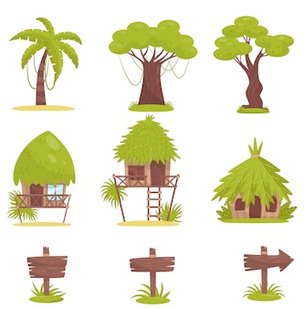 Tropical tree, bungalows and old wooden road signs,  elements of tropical jungle forest landscape  illustration on a white background