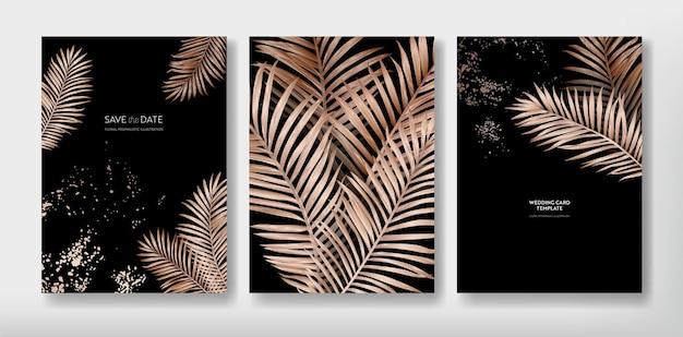 Тропический модный дизайн шаблона приветствия или приглашения, набор плакатов, флаеров, брошюр, обложек, партийной рекламы, золотых пальмовых листьев в векторе