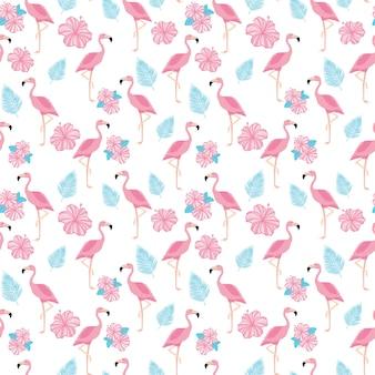 Тропический модный фон с розовыми фламинго, цветами и пальмовыми листьями.