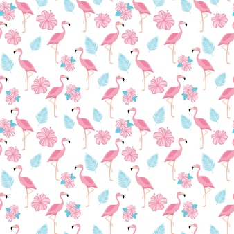 Tropical trendy seamless pattern with pink flamingos, flowers and palm leaves.