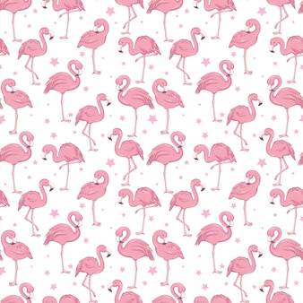 핑크 플라밍고와 열 대 유행 원활한 패턴 프리미엄 벡터