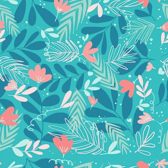 Tropical turquoise leaves seamless pattern
