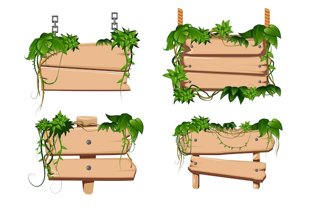 Tropical twining liana vines leaves twist around classical cartoon wooden sign boards set isolated