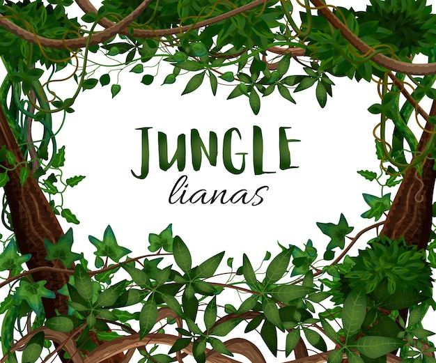 Tropical twining lianas realistic frame with hedera ivy climbing vine exotic plants leaves decorative