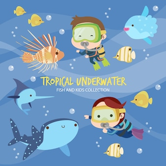 熱帯の水中魚と子供たち Premiumベクター