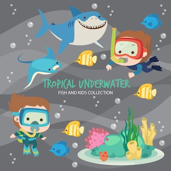 Tropical underwater fish and kids