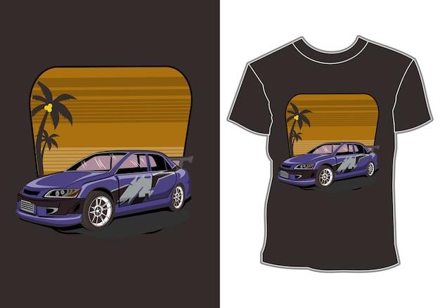熱帯の休暇車と日没の夏の休日のシャツのデザイン