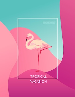 웹, 방문 페이지, 배너, 포스터, 웹사이트 템플릿을 위한 플라밍고 새가 있는 열대 휴가 레이아웃. 모바일 앱, 소셜 미디어에 대한 안녕하세요 여름 배경입니다. 벡터 일러스트 레이 션