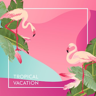 Tropical vacation layout with flamingo bird and palm leaves for web, landing page, banner, poster, website template. hello summer background for mobile app, social media. vector illustration