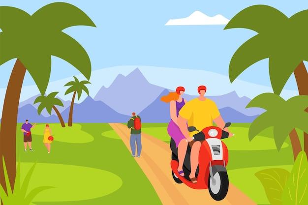 スクーターで熱帯の休暇旅行ベクトルイラスト男女キャラクターカップルでバイクに乗る...