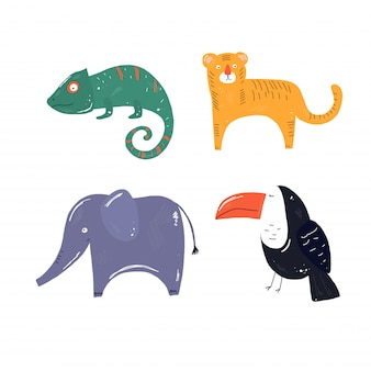 Tropical vector animals, tiger, toucan, elephant, hameleons