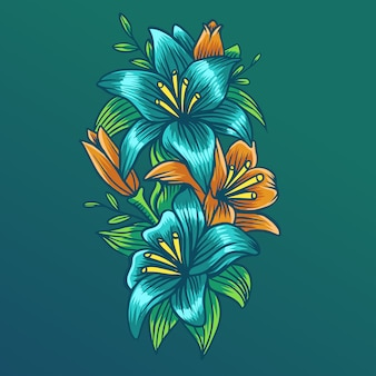 Tropical vector flower 1