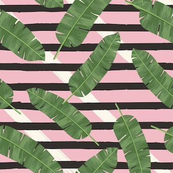 Tropical vector green leaves seamless pattern