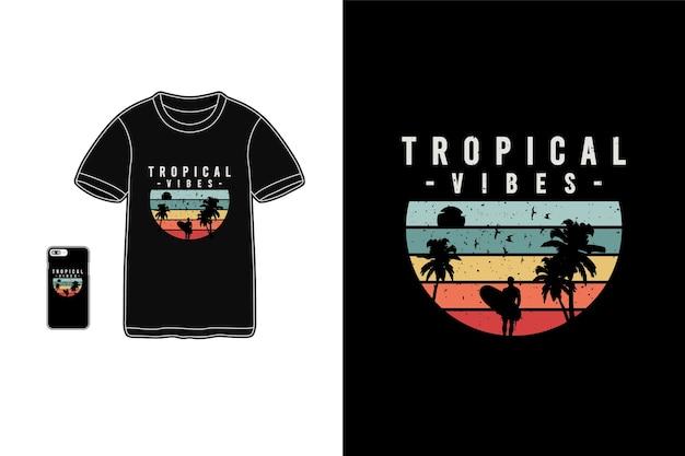 トロピカルな雰囲気、tシャツ商品のタイポグラフィ