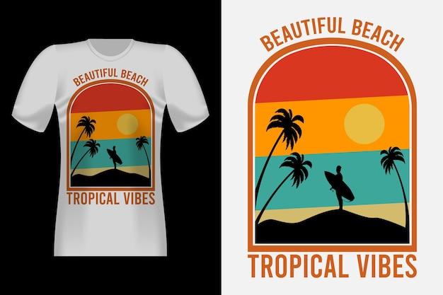 실루엣 빈티지 레트로 티셔츠 디자인의 트로피컬 바이브