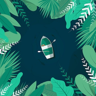 Tropical view of a boat in river