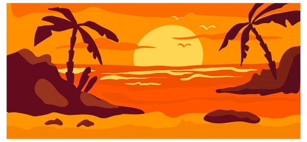 Tropical view landscape, hot country wild beach red sunset concept woodland background nature banner cartoon  illustration. ocean beachfront place.