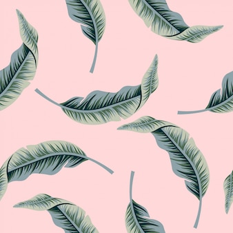 Tropical vintage banana leaf seamless pattern. exotic wallpaper. green leaves and pink background.