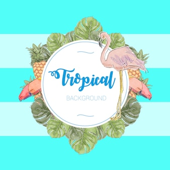 Tropical watercolor and handmade vector illustration