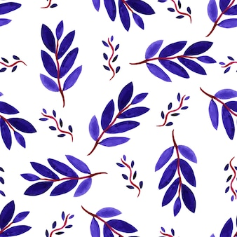 Tropical watercolor leaves seamless pattern. vector texture with hand paint violet branches.