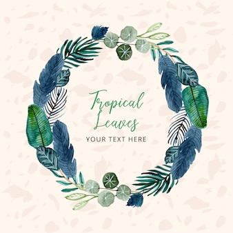 Tropical watercolor leaves wreath with text template