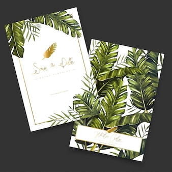 Tropical watercolor painting cards.