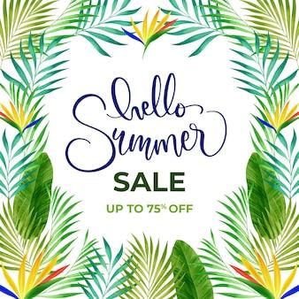 Saldi estivi tropicali dell'acquerello ciao