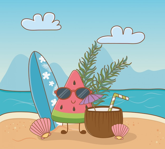 Tropical watermelon character on the beach scene