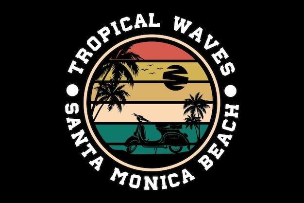 열 대 파도 산타 모니카 해변 실루엣 디자인
