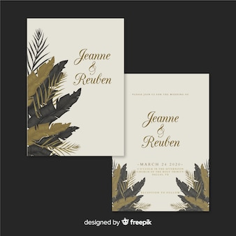 Tropical wedding invitation template