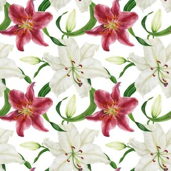 Тропические белые и розовые лилии акварель бесшовный фон
