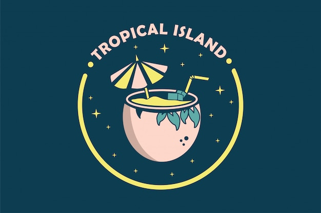 Tropical with coconut  vector illustration
