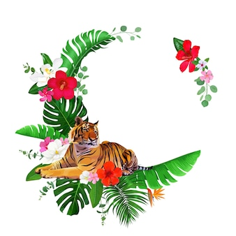 Tropical wreath with bengal tiger and hibiscus flowers
