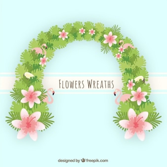 Tropical wreath with flowers