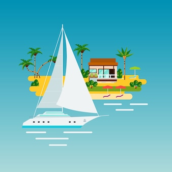 Tropical yacht vacation composition